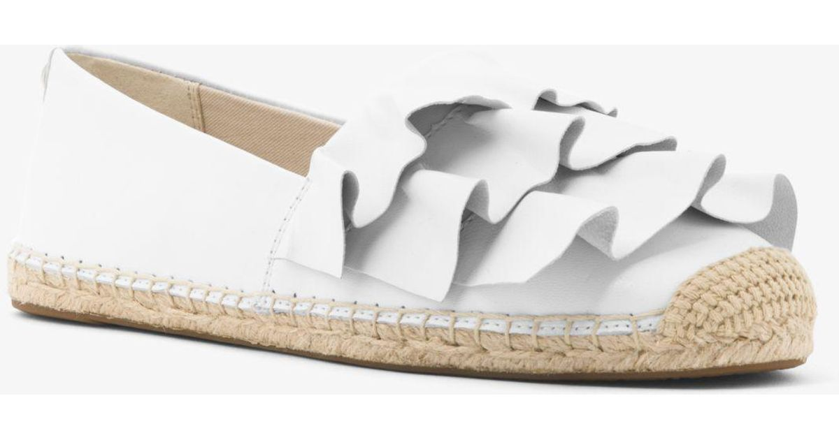 aad8952a6b13 Lyst - Michael Kors Bella Ruffled Leather Espadrille in White