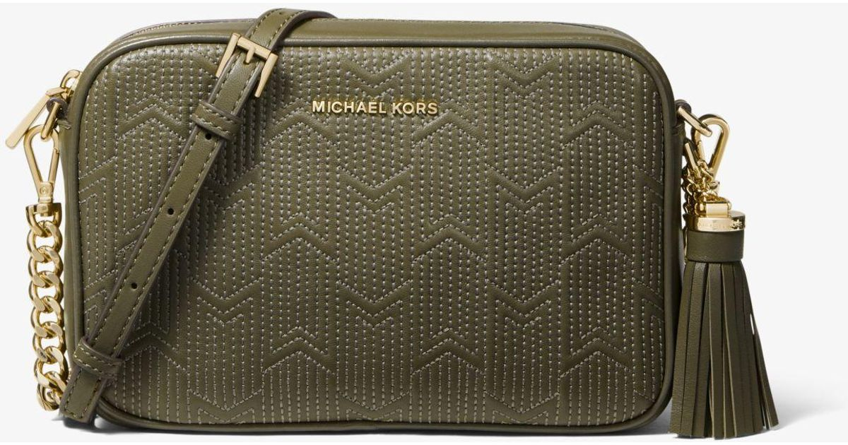 c128a6477613 Michael Kors Ginny Medium Deco Quilted Leather Crossbody in Green - Lyst
