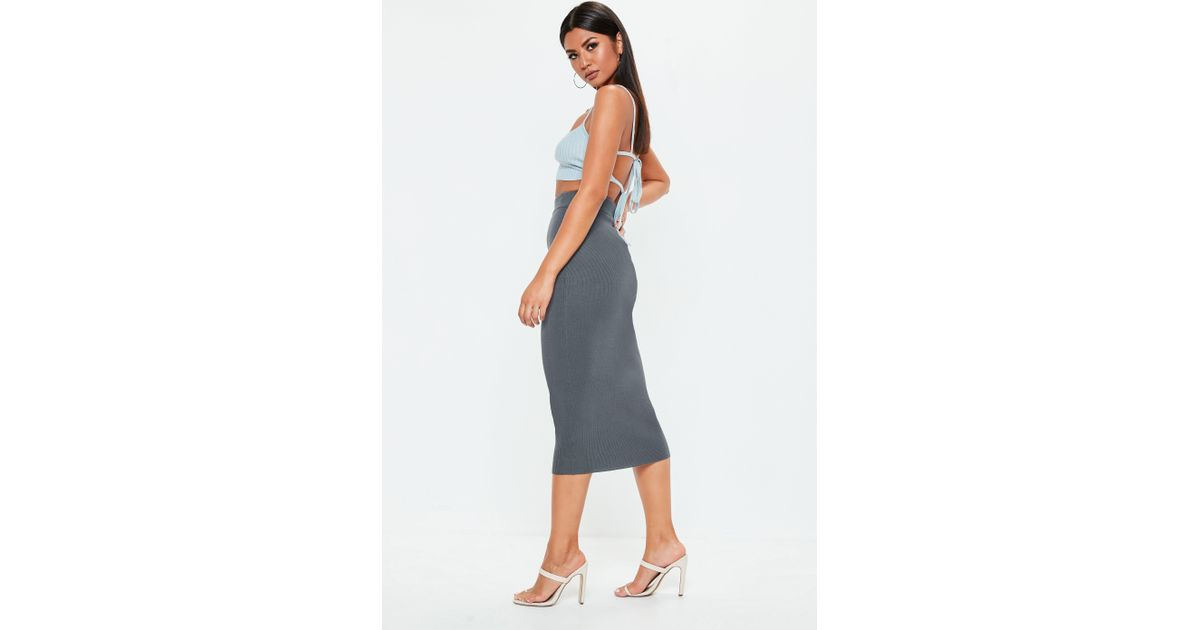 1829963d2b Lyst - Missguided Grey Knitted Bodycon Midi Skirt in Gray