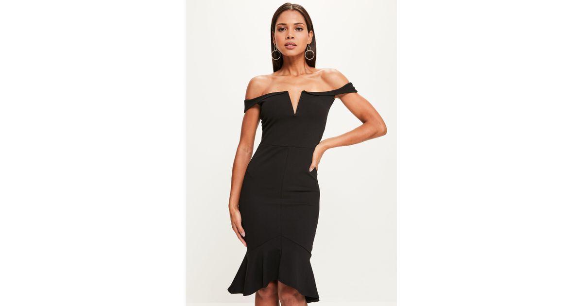 2cf8cd5bb9 Lyst - Missguided Black V Bar Bardot Frill Hem Midi Dress in Black