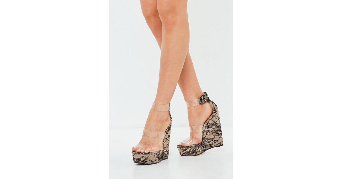 f41f04c76a6 Missguided Nude Three Strap Clear Platform Wedge Lace Shoes in Natural -  Lyst