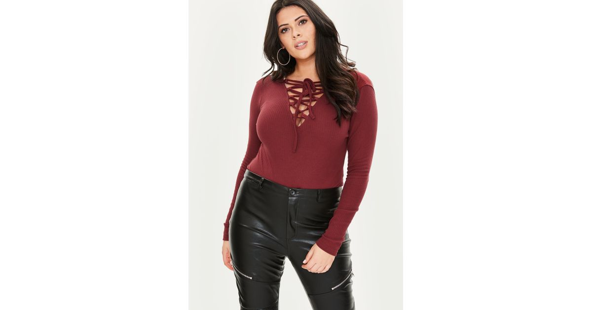 Lyst - Missguided Curve Burgundy Lace Up Bodysuit in Red 95be8126d