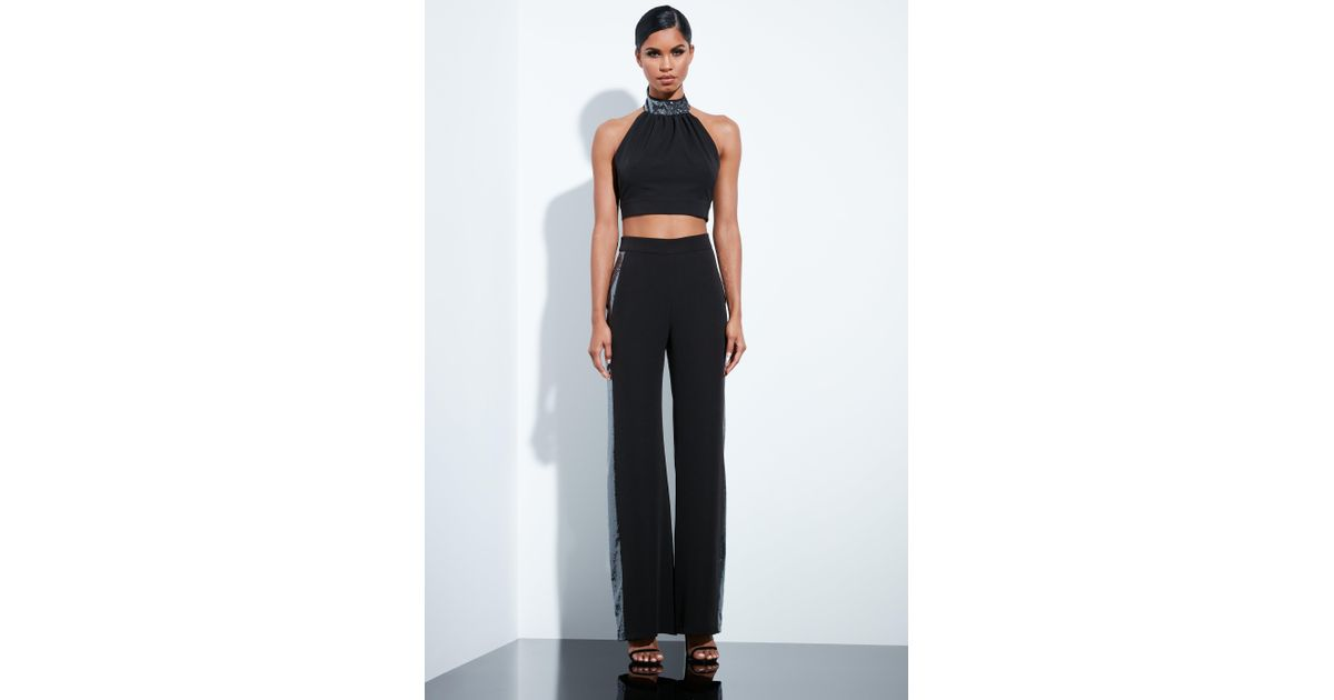 73a504f02c115 Lyst - Missguided Black Sequin High Neck Tie Back Crop Top in Black