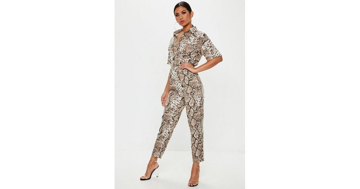 18a7f59d6d Missguided Brown Snake Print Shirt Jumpsuit in Brown - Lyst