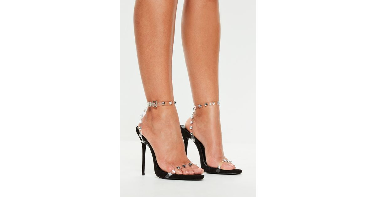 0f8a7ba2aa9 Lyst - Missguided Peace + Love Black Studded Clear Strap Heeled Sandals in  Black