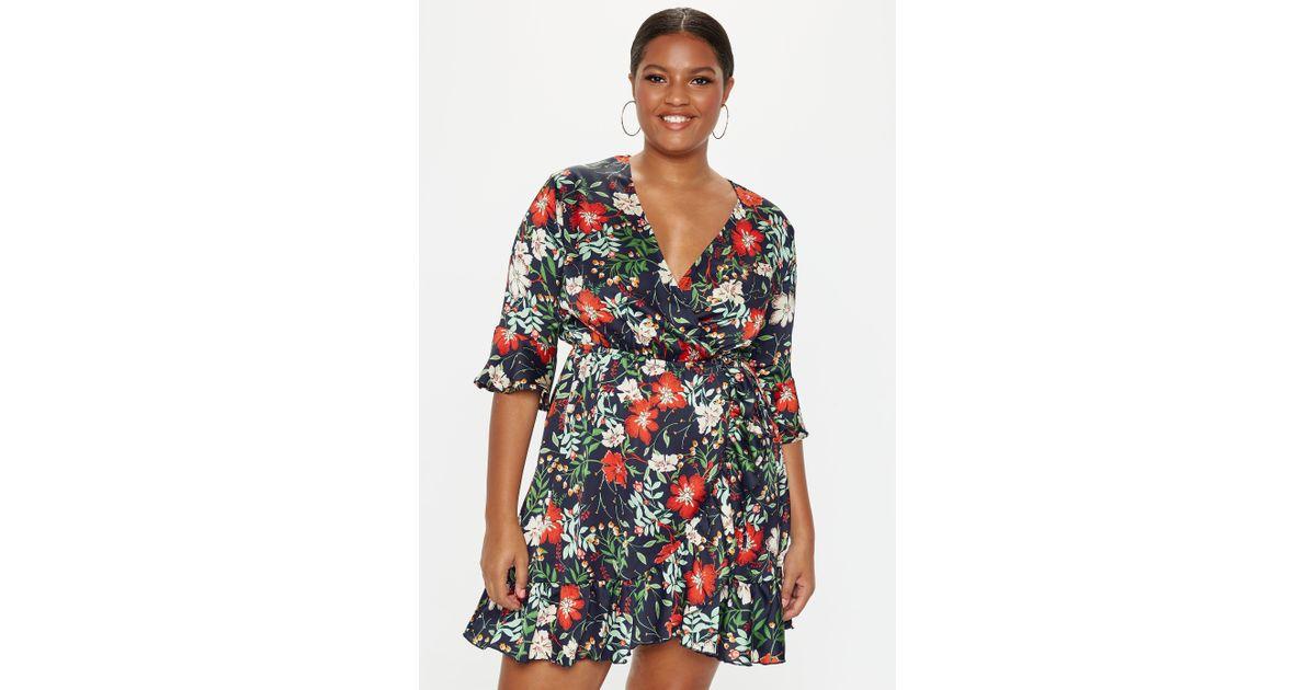 Missguided - Plus Size Black Wrap Floral Dress - Lyst