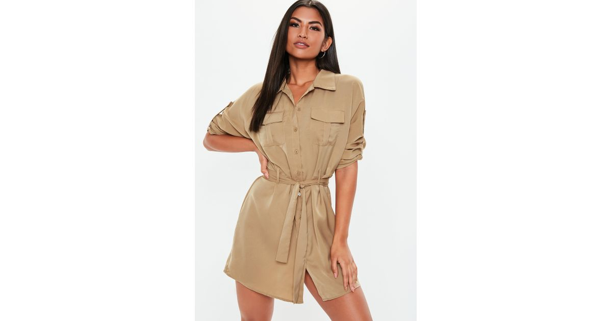 bff437ab94f Missguided - Natural Stone Tie Waist Utility Shirt Dress - Lyst