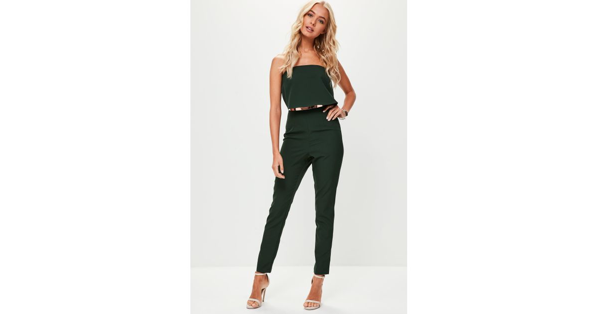 9f92efc6e9d7 Lyst - Missguided Green Bandeau Double Layer Jumpsuit in Green