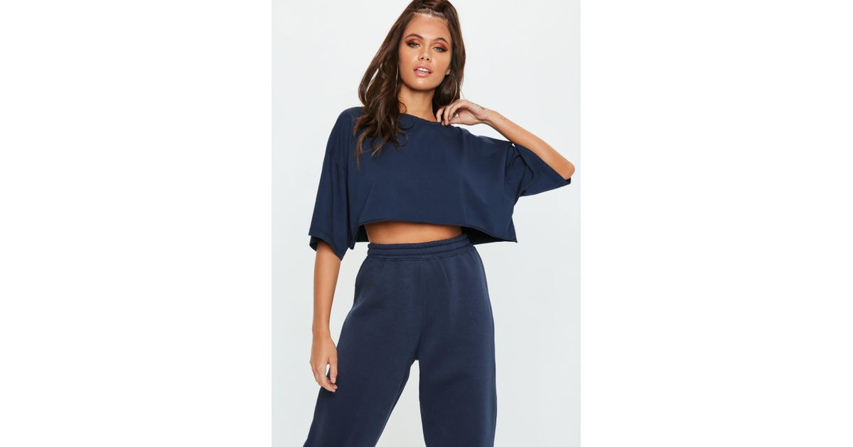 ed6bbe7cd81ff5 Lyst - Missguided Tall Blue Oversized Crop Jersey T Shirt in Blue - Save 31%