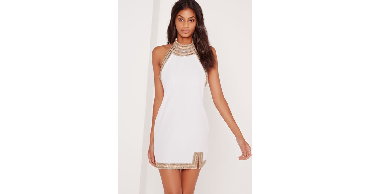Missguided Embellished Neck Detail Halter Swing Dress White in White   Lyst