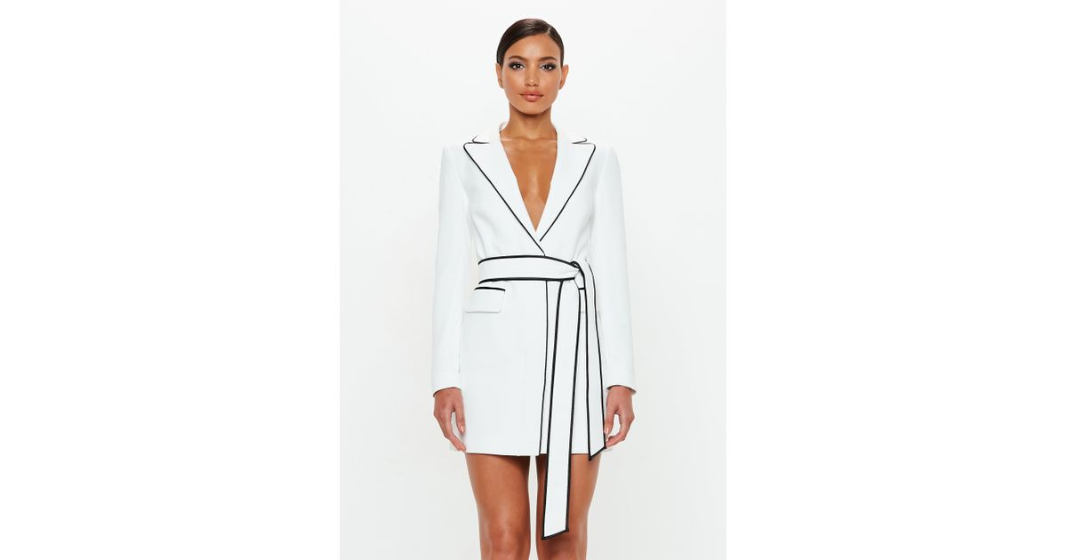f70898cd9a Missguided Peace + Love White Contrast Binding Blazer Dress in White - Lyst