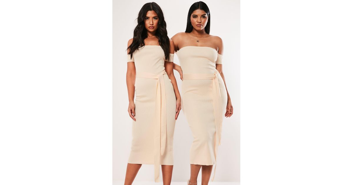 Missguided - Natural Plus Size Cream Bandeau Bandage Tie Midaxi Dress - Lyst