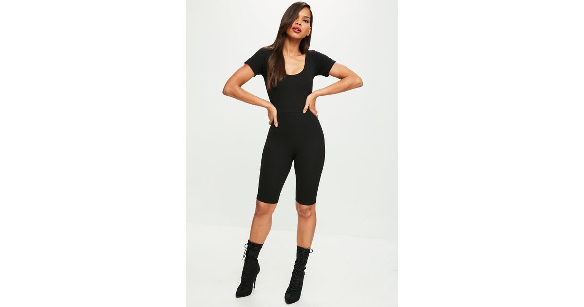 f7be41eb9dbe Lyst - Missguided Black Short Sleeve Cropped Unitard in Black
