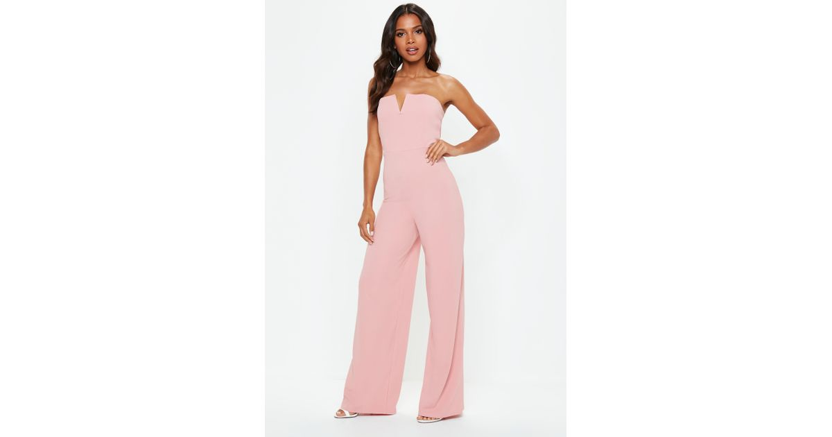 023ad75b30d Lyst - Missguided Pink V Bar Bandeau Wide Leg Jumpsuit in Pink