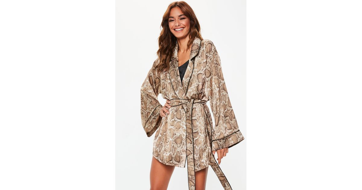 871e842e98 Lyst - Missguided Brown Snake Print Satin Dressing Gown in Brown