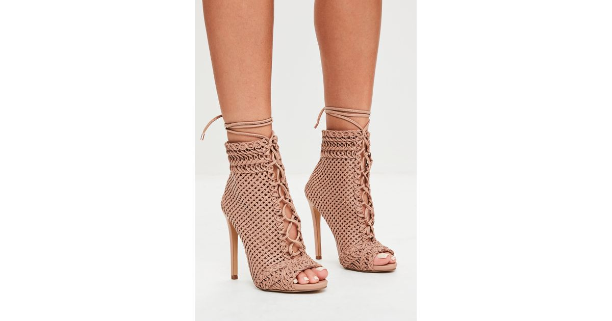 bright in luster various colors factory outlet Missguided Natural Beige Woven Peep Toe Ankle Boots