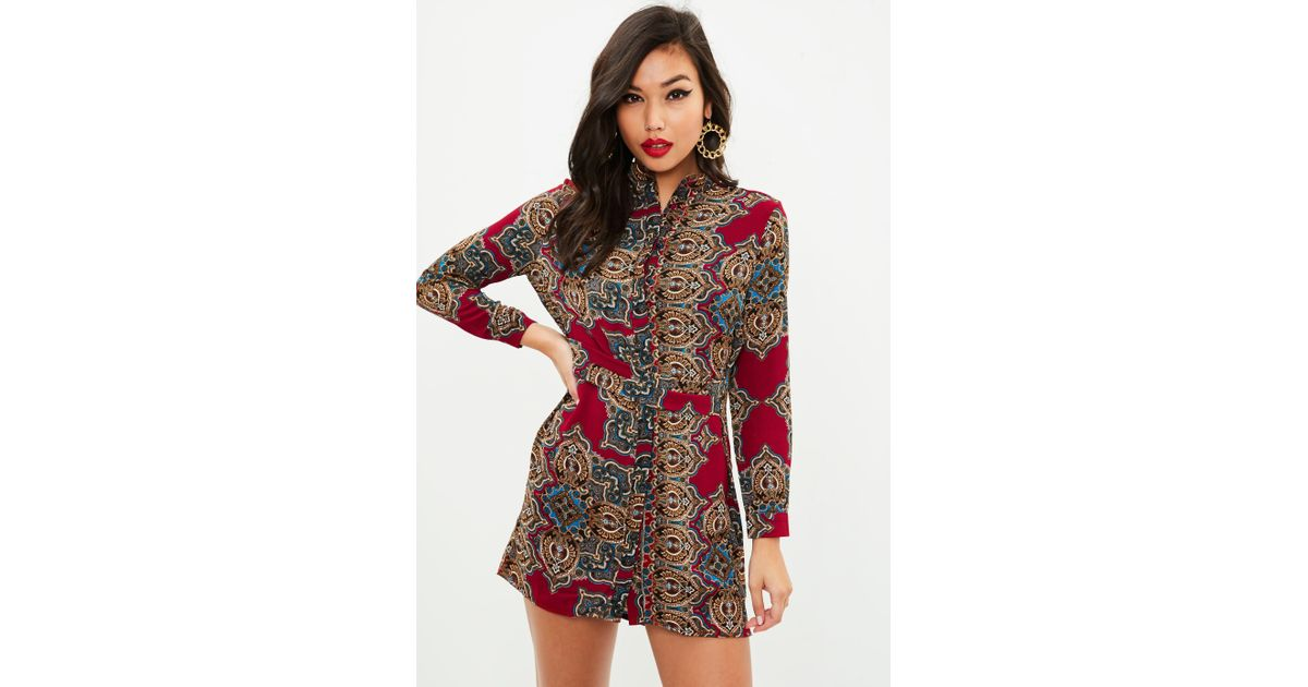 ffcef0f0305e Lyst - Missguided Petite Red Paisley Print Shirt Dress in Red