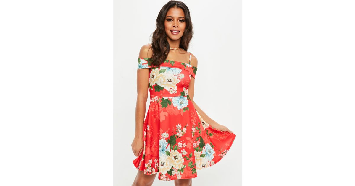bb2a246fe10 Missguided Red Floral Cami Strap Fold Over Skater Dress in Red - Lyst