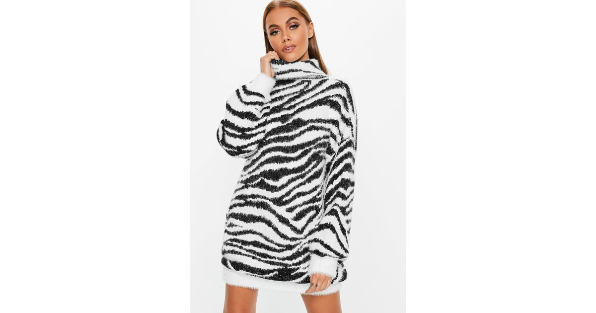 d7814c51281 Lyst - Missguided Jumper Dress With Roll Neck In Zebra in White - Save 67%