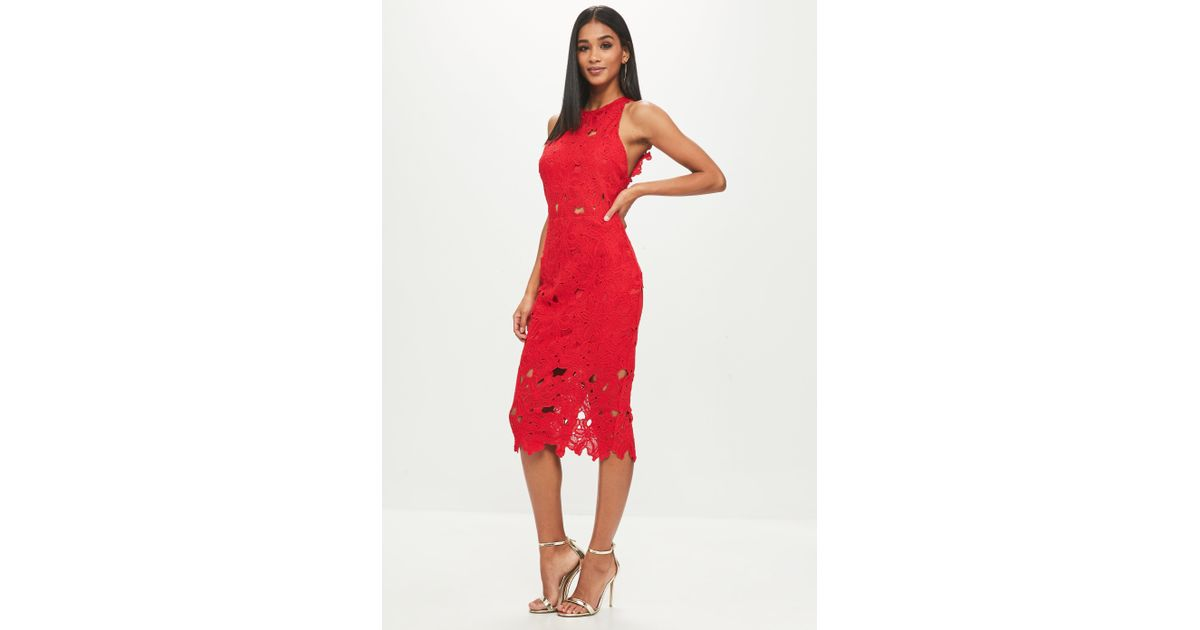 a7b6c058a36e Missguided Tall Red Crochet Lace Midi Dress in Red - Lyst
