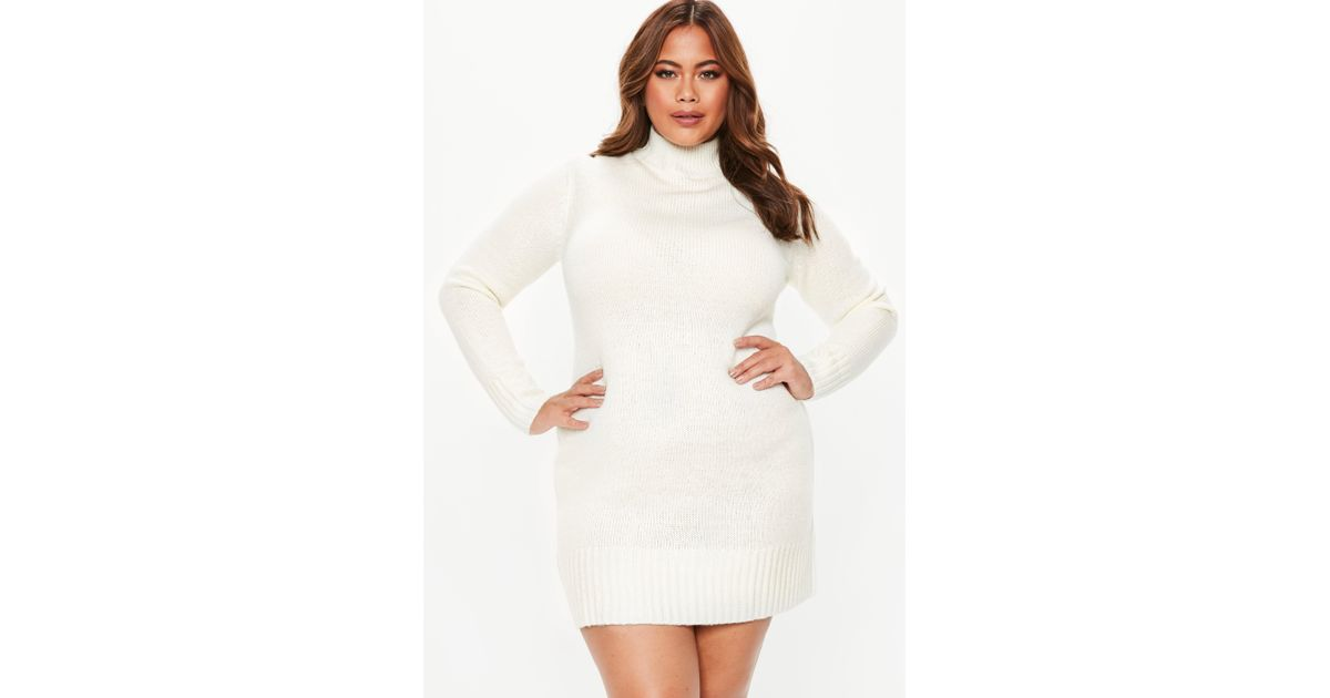 Missguided - Natural Plus Size Cream Turtle Neck Jumper Dress - Lyst