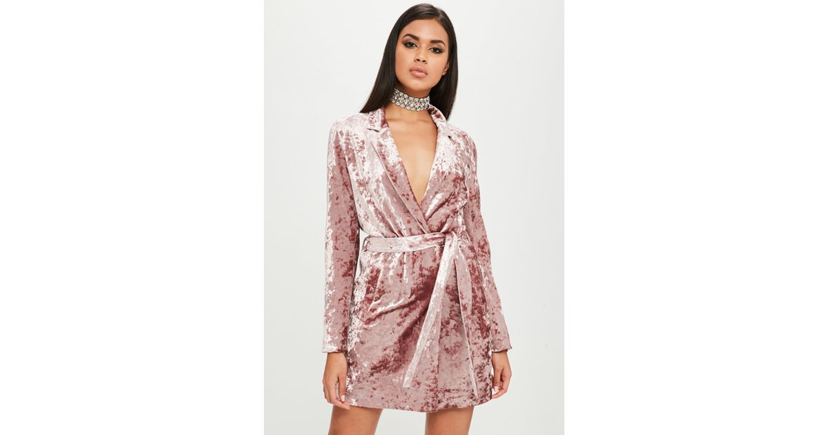 96fc7e2ba4c7 Missguided Carli Bybel X Pink Crushed Velvet Wrap Dress in Pink - Lyst