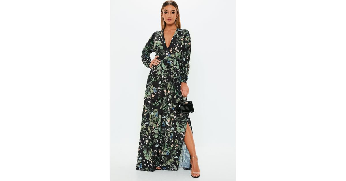 78896abc7c Lyst - Missguided Black Floral Plunge Tie Waist Maxi Dress in Black
