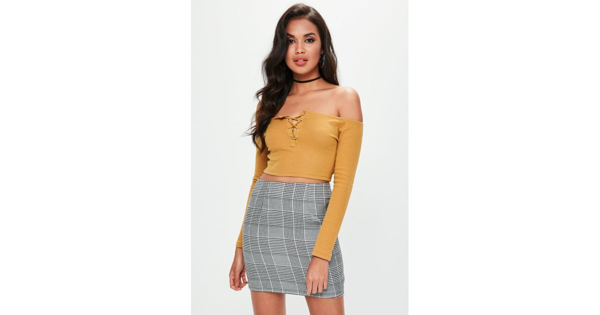 08806df511d318 Missguided Mustard Yellow Lace Up Eyelet Detail Ribbed Crop Top - Lyst