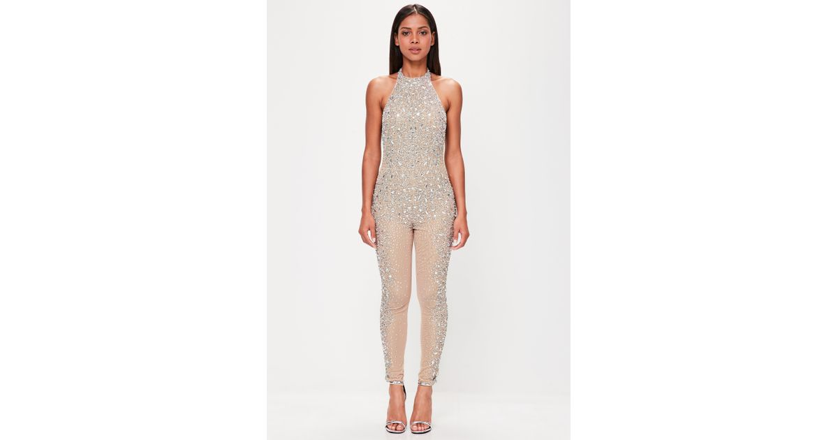 1b230bf1f8e7 Lyst - Missguided Peace + Love Nude Embellished Low Back Jumpsuit in Natural