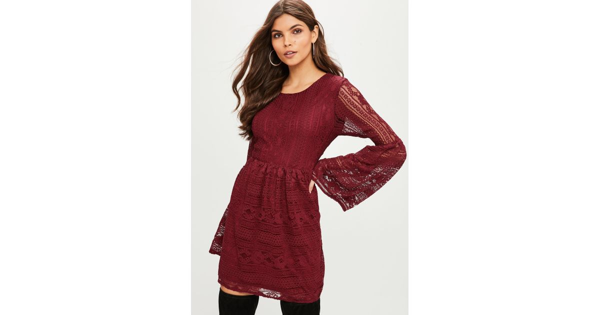 0a9b0b8c31d2 Lyst - Missguided Burgundy Lace Skater Dress in Red