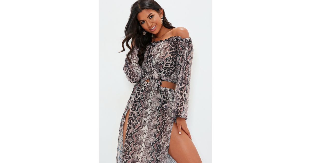 cf2180062ef2d Lyst - Missguided Snake Print Bardot Top Cover Up - Save 14%