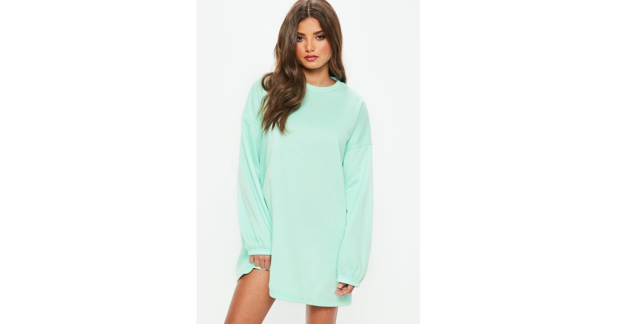 Missguided Dress Back Green In Sweater Mint Brush Oversized Lyst LzVqUpGSM