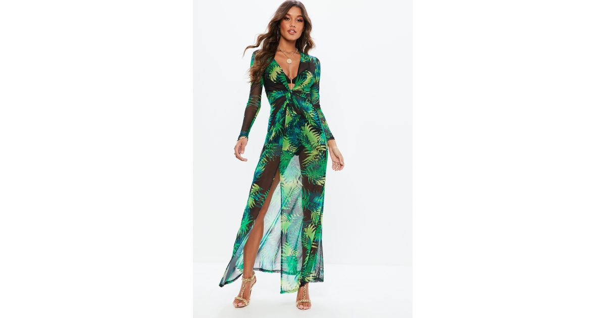 6579483c7a2 Missguided Green Tropical Plunge Thigh Split Sheer Maxi Dress in Green -  Lyst