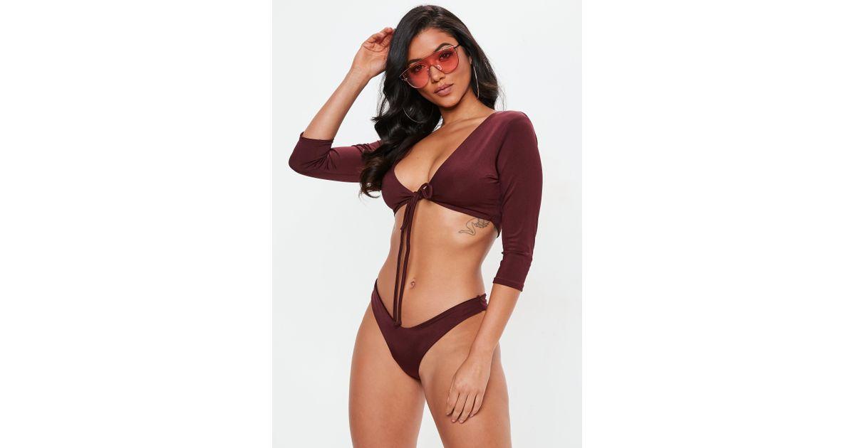 db8ad80773 Lyst - Missguided Burgundy Tie Front Long Sleeve Bikini Top