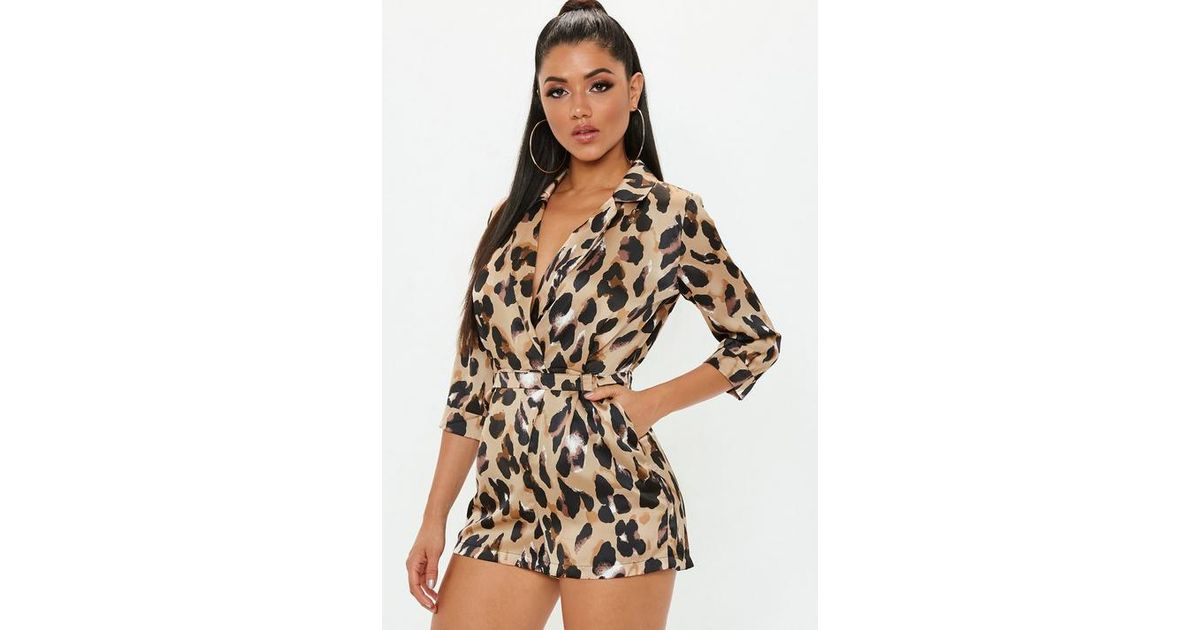 c007a5ce8e Missguided Brown Leopard Print Wrap Blazer Playsuit in Brown - Lyst