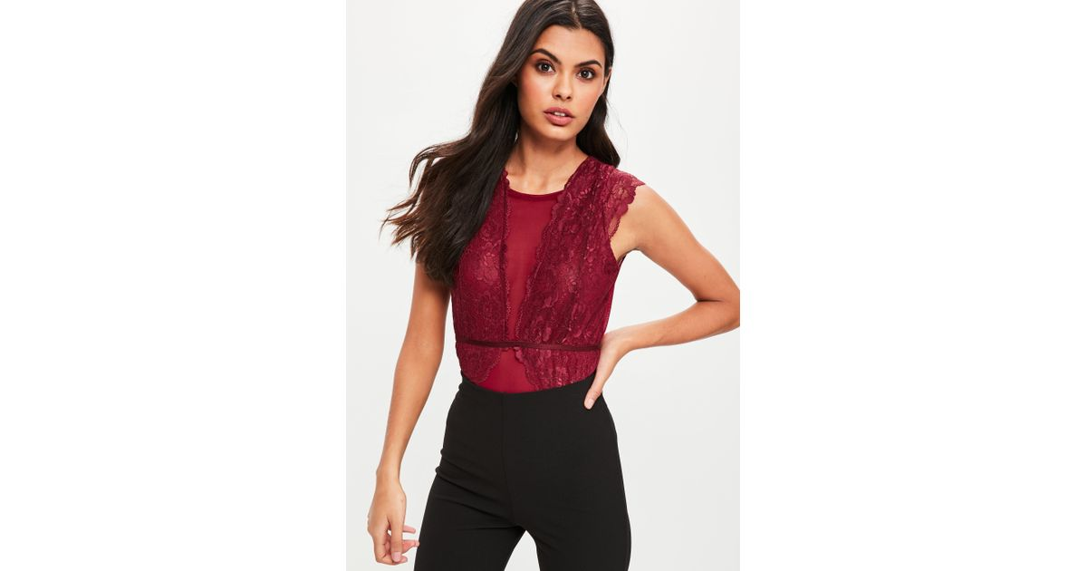 Missguided Burgundy Lace Mesh Insert Bodysuit in Red - Lyst 51a982503