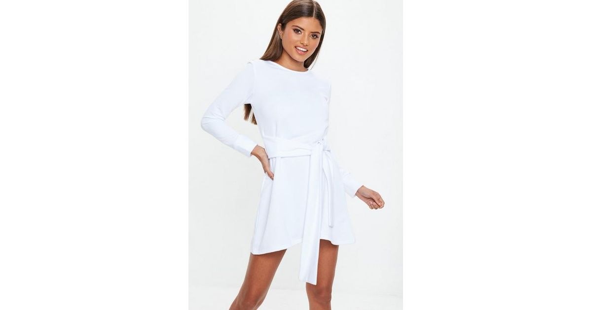 9566dd1e129 Missguided White Tie Waist Sweater Dress in White - Lyst
