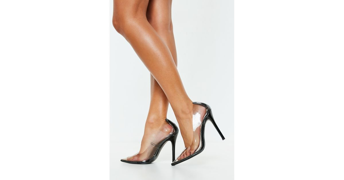 f378efe909d Lyst - Missguided Black Clear Pointed Pumps in Black