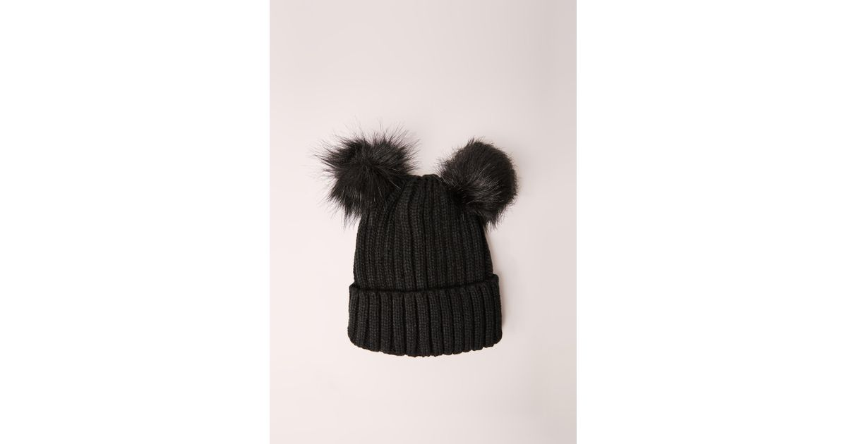 db4ca507615 Lyst - Missguided Double Pom Beanie Hat Black in Black