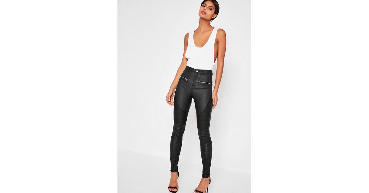 Lyst - Missguided Black Sinner Coated Biker Skinny Jeans in Black fd5f616145dc
