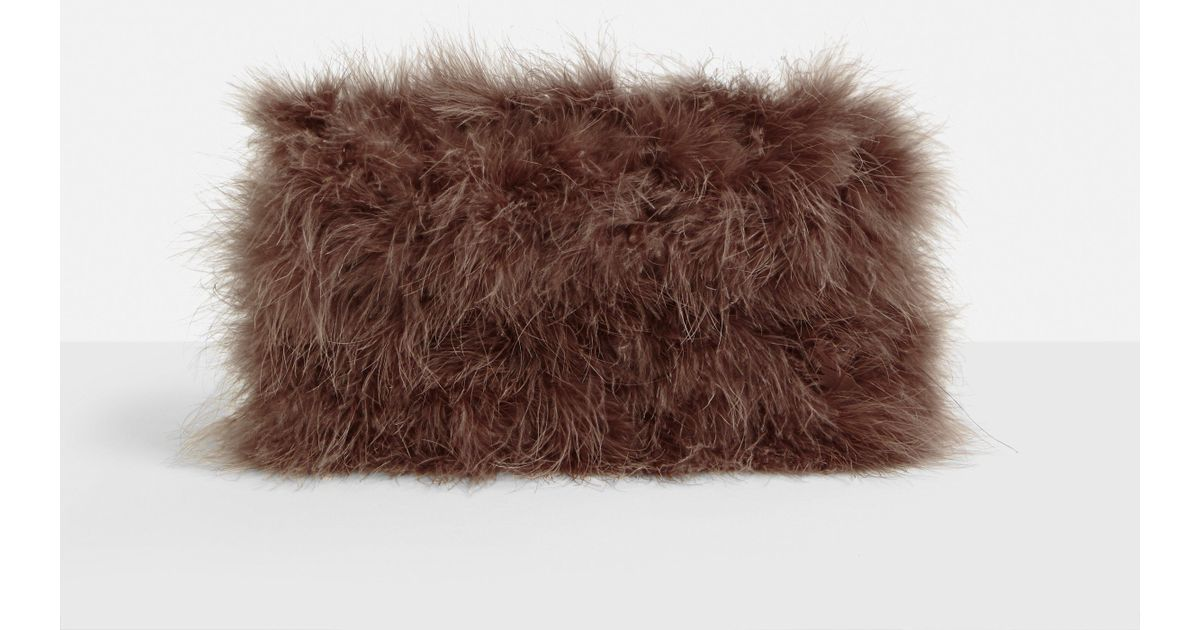 Lyst - Missguided Brown Fluffy Feather Clutch Bag in Brown 6bc240c6000dd