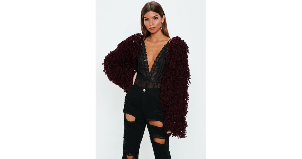 cf95382d311e46 Lyst - Missguided Burgundy Shaggy Crop Knitted Cardigan