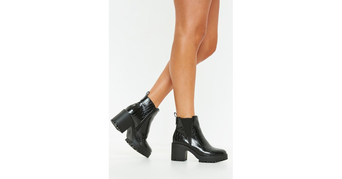 c864a07e5960 Missguided Black Croc Chunky Chelsea Ankle Boot in Black - Lyst
