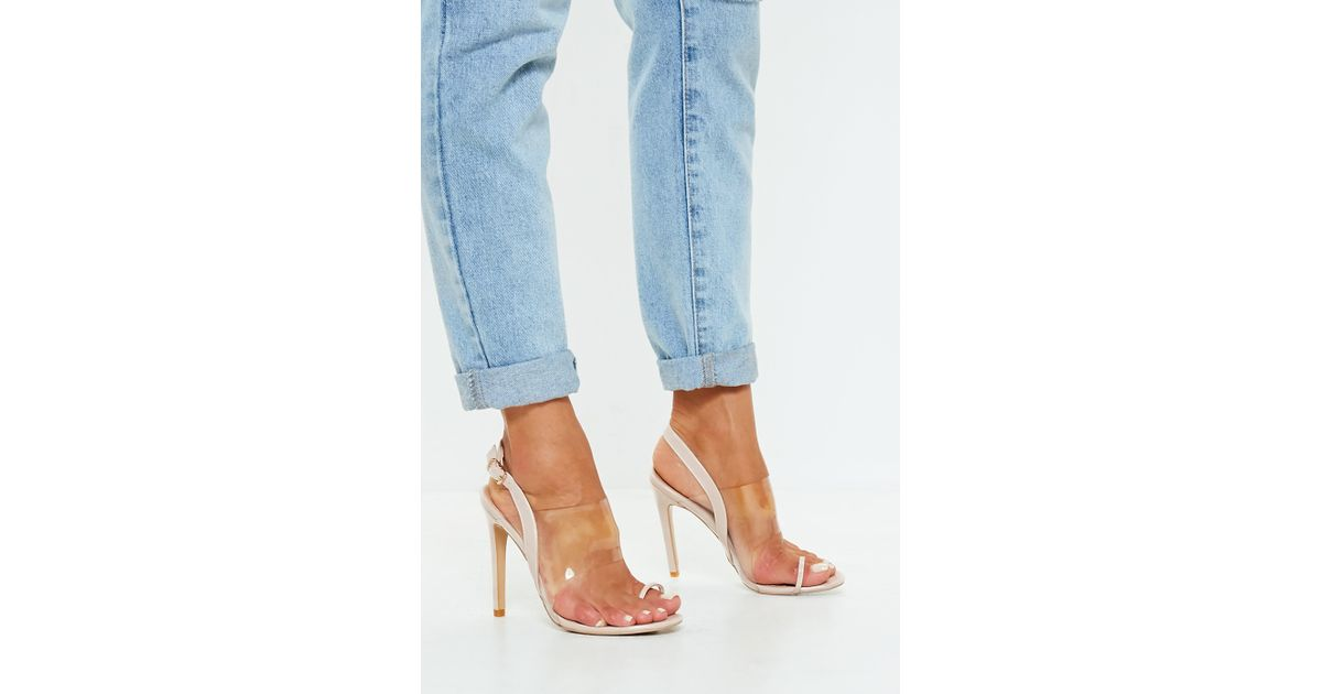 2f5b5d3a7f66 Missguided Nude Clear Strap Heeled Sandals in Blue - Lyst
