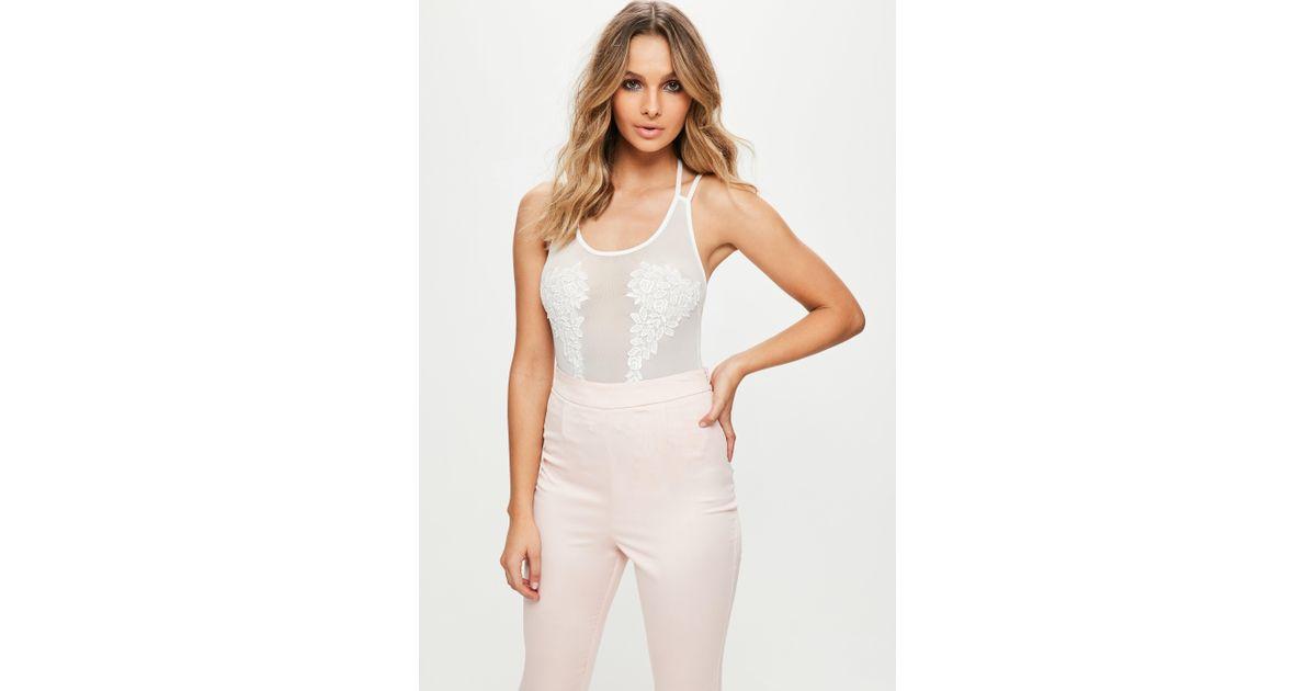 Missguided white applique bodysuit in white lyst