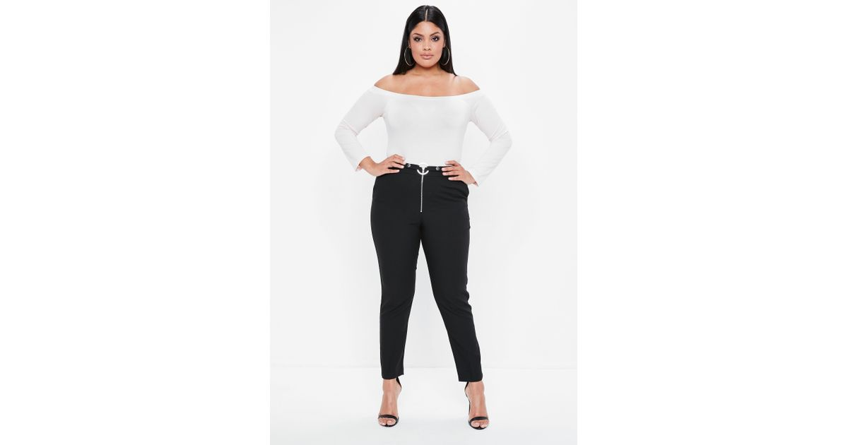 438d45eed28d8 Lyst - Missguided Plus Size Black Zip Front Circle Ring Cigarette Trousers  in Black