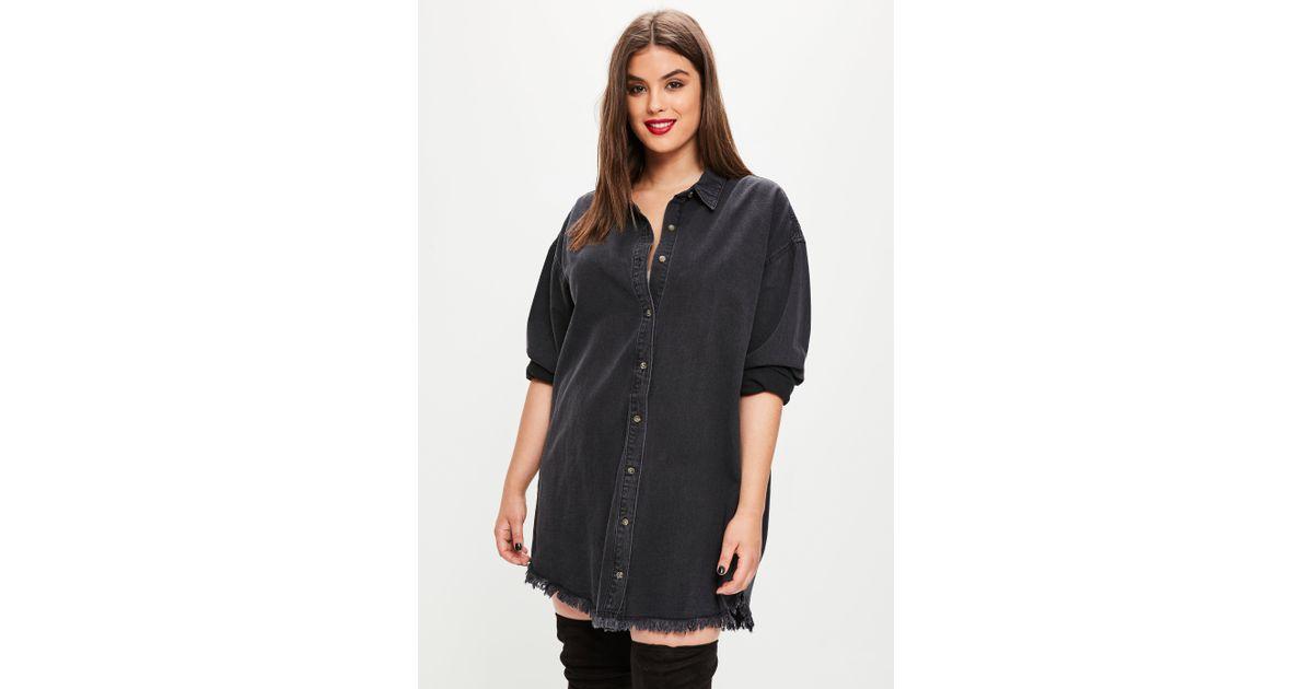 5c4d5f322df Lyst - Missguided Plus Size Black Oversized Denim Shirt Dress in Black