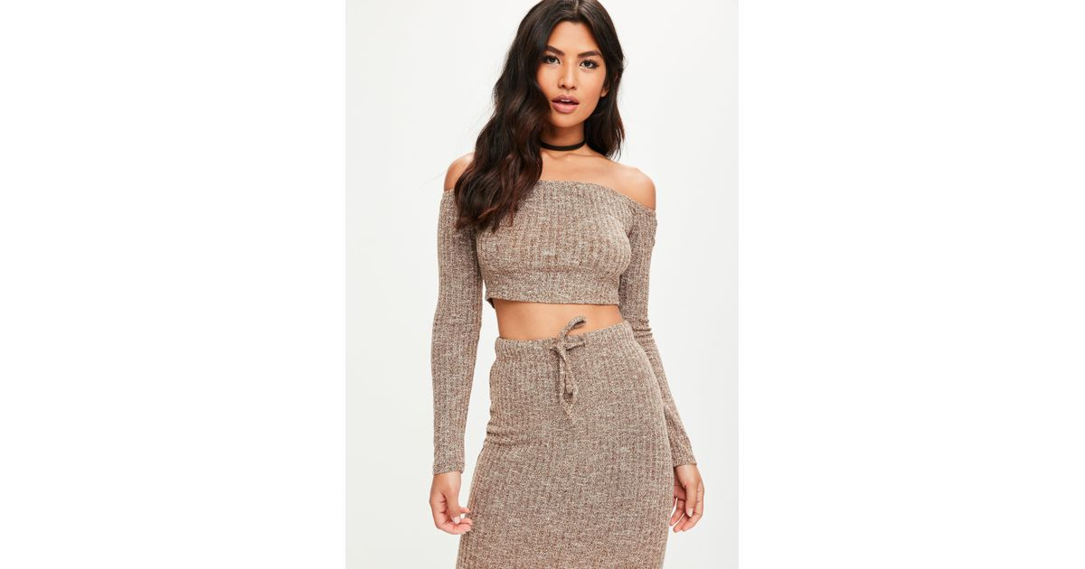 15ea676e87913 Lyst - Missguided Brown Ribbed Bardot Knitted Crop Top in Brown
