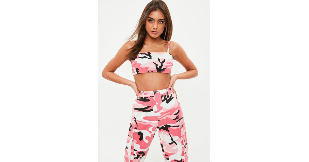47c683acc4 Missguided Pink Denim Camo Strappy Bralet in Pink - Lyst