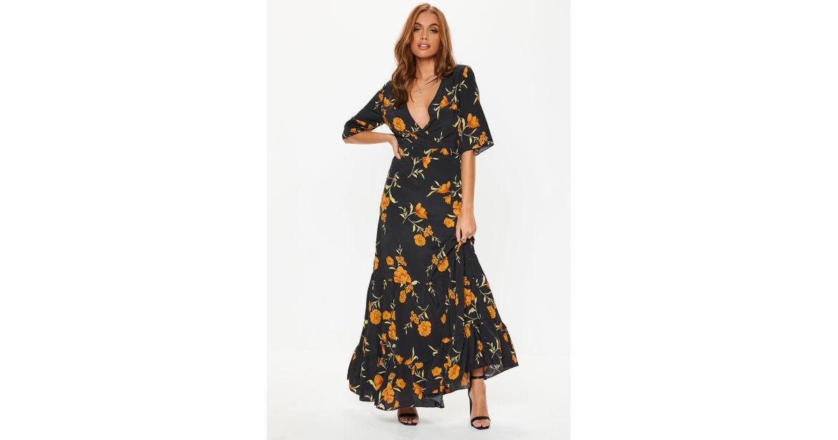 Lyst - Missguided Black Floral Frill Hem Maxi Dress in Black 95ba91090